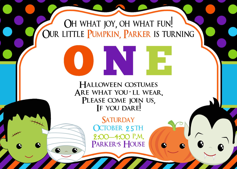 Halloween First Birthday Invitation Halloween Invitation | Etsy