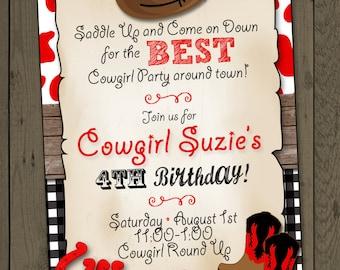 Cowgirl Invitation Cowgirl Birthday Party Invitation Cowgirl Party Invitation