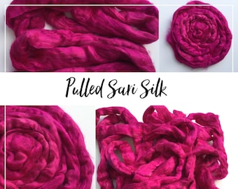 Pulled sari silk roving - pink sin - 20 grams