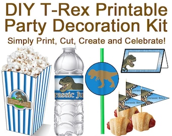 DIY T-Rex Printable Birthday Party Decoration Kit (Digital files Only)
