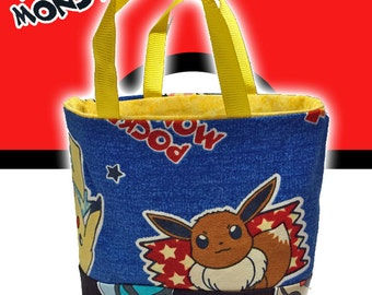 Pocket Monster (Pokemon) Handmade Tiny Small Fabric Tote / Toy / Party Bag Featuring Pikachu and Eevee