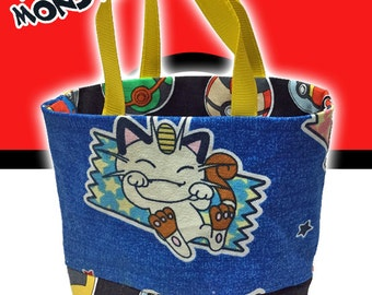 Pocket Monster (Pokemon) Handmade Tiny Small Fabric Tote / Toy / Party bag featuring Pikachu and Meowth