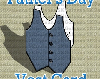 Printable Father's Day Vest Shape Card Instant Download Printable DIY
