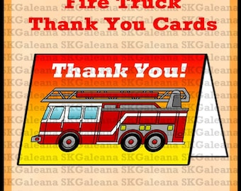 Printable Fire Truck Thank You Cards Instant Download DIY