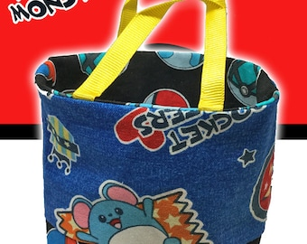 Pocket Monster (Pokemon) Handmade Tiny Small Fabric Tote / Toy / Party Bag Featuring Pikachu, Marril and Togepi