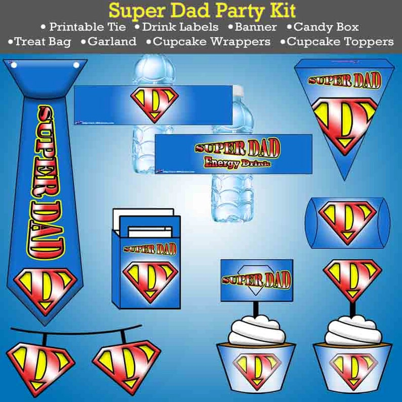 8 Page Printable Super Dad Party Set Instant Download image 0