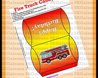 Printable Fire Truck Candy Box Instant Download Printable DIY