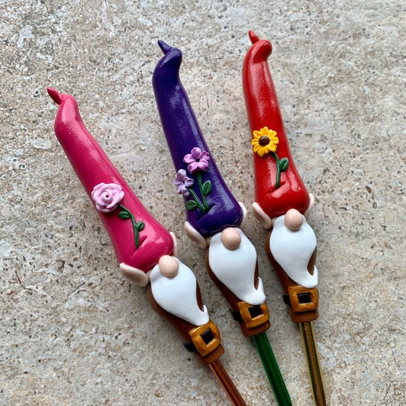 Garden Gnome Ergonomic Crochet Hook  MADE TO ORDER Purple image 0