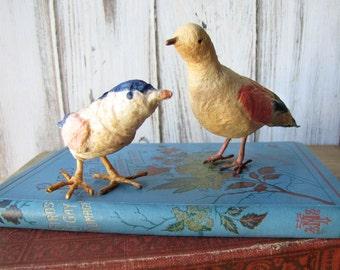 Pair of Antique Spun Cotton Birds Cotton Batting Primitive Rustic Style Vintage Christmas Ornaments