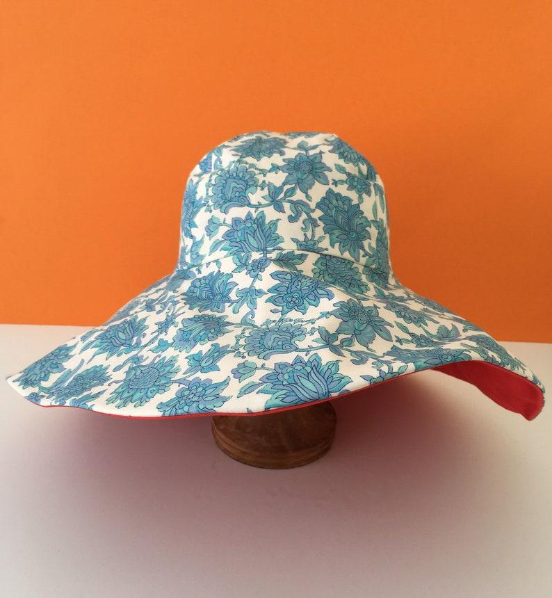 beach hat retro festival hat Hand made wide brim sun hat garden cloth hat birthday gift gift for her travel hat summer hat vintage