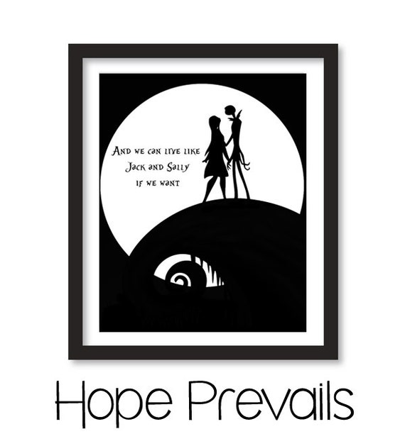 Jack And Sally Skellington Disney Love Quote Printable Wall Decor Poster Minimalist Quote Print Jpeg Pdf Digital File Instant Download