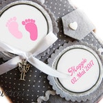 3 in 1 U-heft case baby feet grey pink pink girl