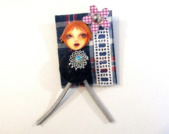 Funny colree Linnet head fabric patchwork brooch multicolored doll jeans