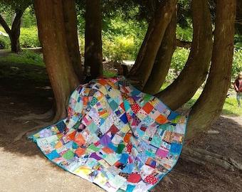 Handmade Patchwork Quilt, King Size Bed Patchwork Quilt, Rainbow Quilt, Handmade Quilt, Recycled Quilt, Zero Waste, Plastic Free Sleep