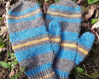 Striped Wool Mittens, Medium Adult Mittens, Pure Wool Mittens
