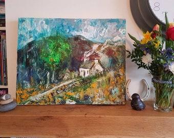 Scottish Highlands Cottage Scene, Original Acrylic Painting on Canvas