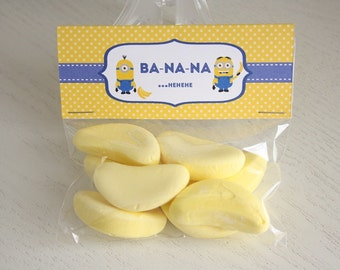 Instant Download - Bag Toppers - Minion Bananas