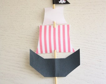 Pirate Ship Toppers (Girl's Pink version) - Instant Download - Make your own Pink Pirate Ship to add to your party decorations/cake or food.