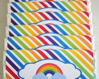 Instant Download - Chocolate Bar Wrappers - Rainbow / Bright