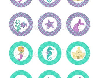 Instant Download - 2 inch Circle Toppers - Mermaid