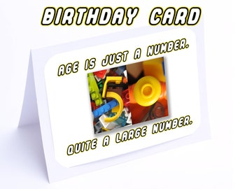 Lego Birthday Card --- Age Is Just A Number  (2 gifts in 1)