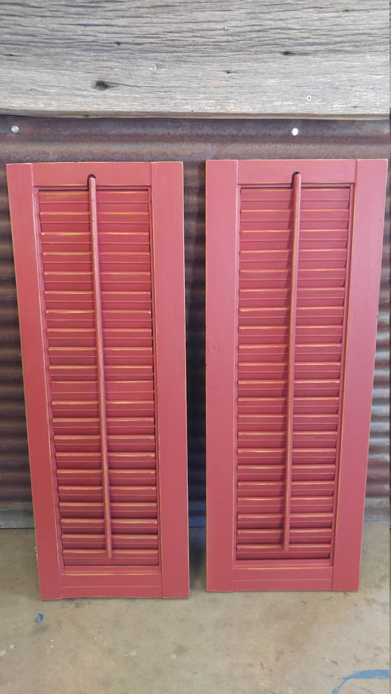 Set of 2 Wood Shutters - lafonda Antique Red Distressed