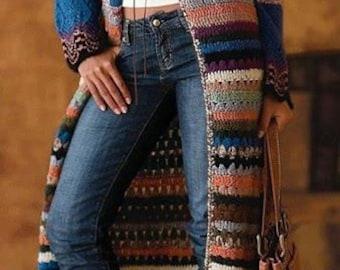 Crochet  coat,, long coat,  sweater, cardigan hand crafted, long cardigan sweater, made to order