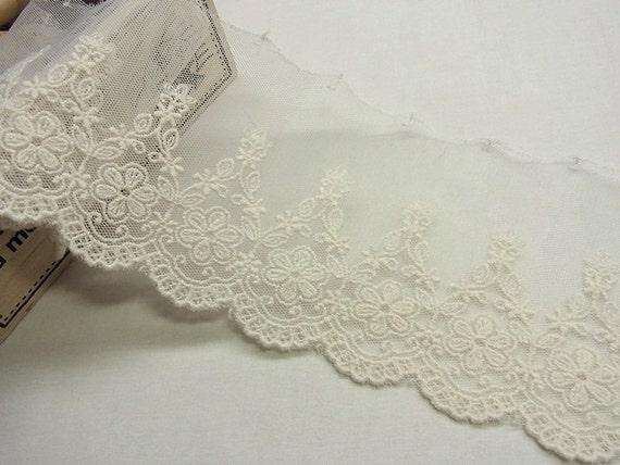 """3 MTR festoneado blanco bordada con cuentas de cristal Bridal Lace Net Tela. 58/"""" de ancho"""