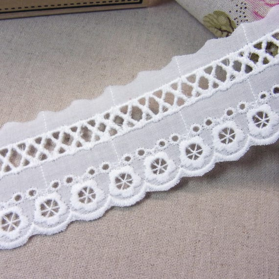 Naturel broderie yards coton broderie anglaise dentelle garniture blanche 14 yards broderie #1044 ce6b66