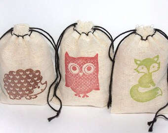 Woodland Animals bags set 15 with stamp gift sack party baby shower goodies bag