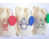Christmas bags with tags Set muslin cotton favor bag 15 with stamp