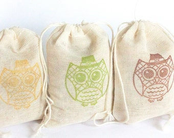 Harvest Owl bags 15 with stamp gift sack thanksgiving party goodies treat bag