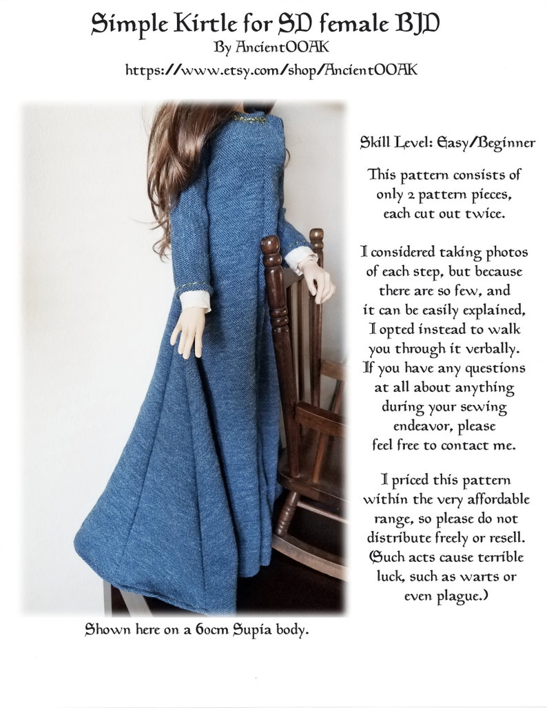 Medieval Kirtle Pattern for SD 1/3 scale BJD