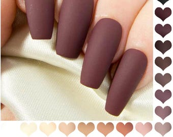 Coffin Fake Nails Matte - Nude Press On Nails - Burgundy False Nails - Neutral Coloured Acrylic Nails - Long Black Artificial Nail Set