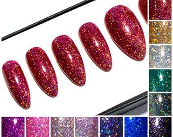 Glitter Stiletto Nails Gel Press On Nails Pointy Glue On Etsy