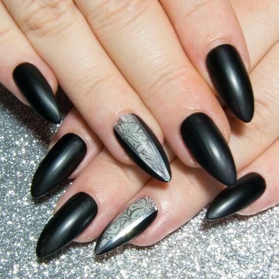 Matte Black Fake Nails Almond Press On Nails Pointy False | Etsy