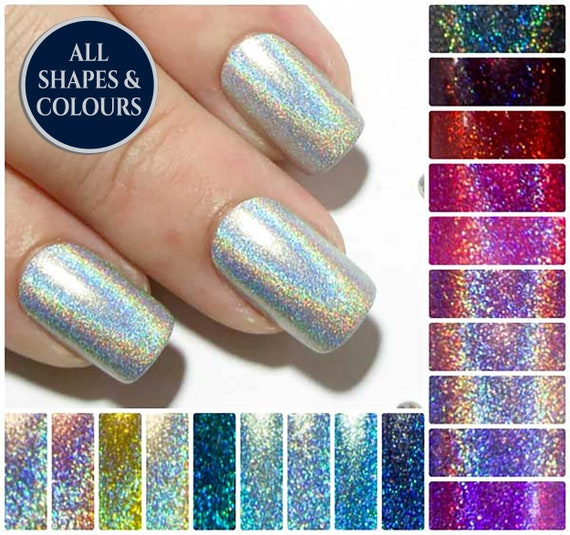 Square Fake Nails , Holographic False Nails , Short Press On Nails , Petite  Artificial Nails , Holo Acrylic Nails , Faux Nail Set