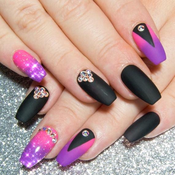 Crystal Coffin Nails Matte Fake Nails Nail Art Press On Etsy