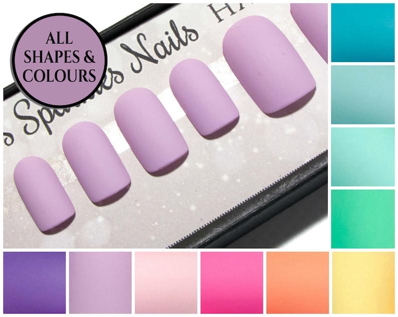 Acrylic Nails Matte Square Fake Nails Short Faux Nails Reusable False Nails Glue On Gel Nails Pastel Nails Active Length Nails