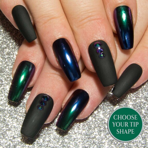 Matte Black \u0026 Chrome Nails , Ombre Mirror Nails , Coffin False Nails , Fake  Nails with Crystals , Gothic Acrylic Nails , Long Glue On Nails
