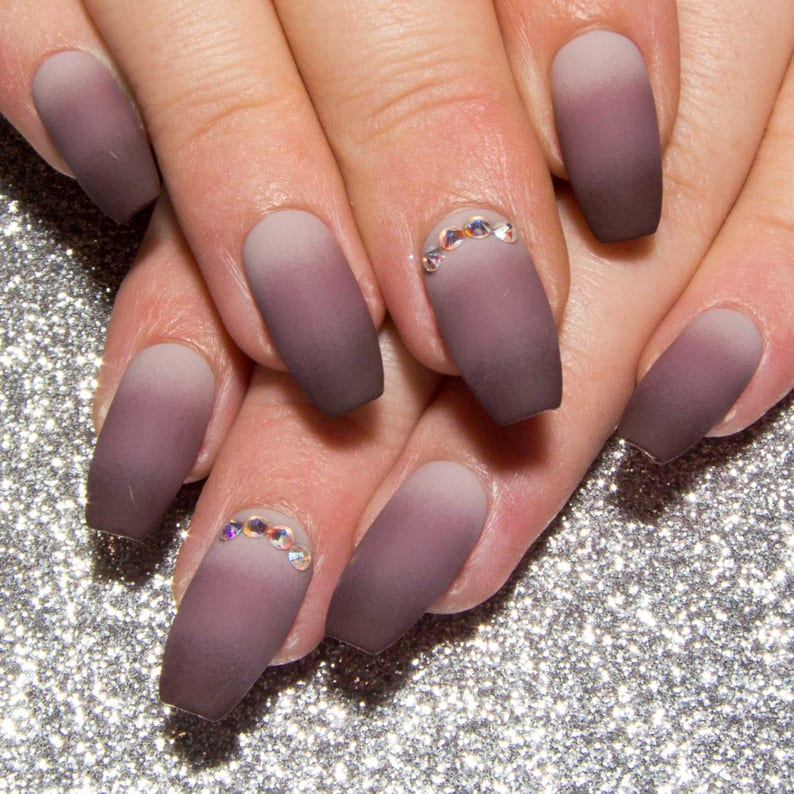 Ombre Fake Nails Matte Nude False Nails Coffin Nails Etsy