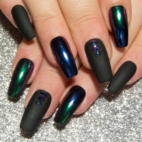 Matte Black & Chrome Nails Ombre Mirror Nails Coffin False | Etsy