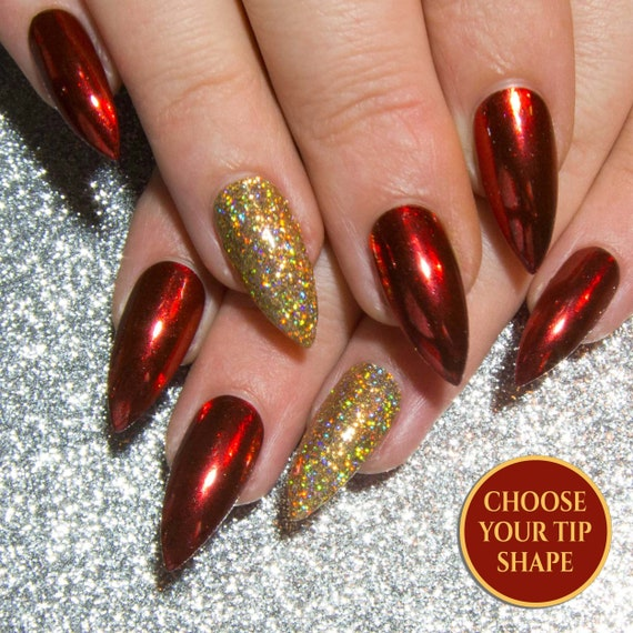 Chrome rouge ongles,Stiletto faux ongles,Noël faux ongles,pointues colle  sur Nail Glitter,griffe presse sur les ongles,petite ongles artificiels