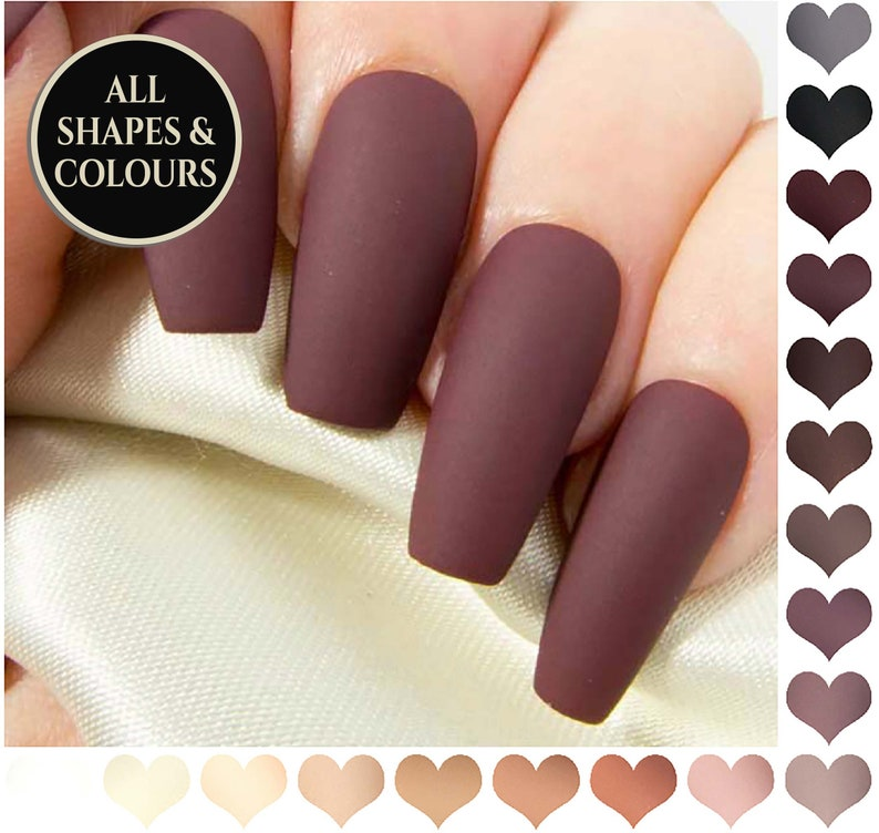 Coffin Fake Nails Matte Nude Press On Nails Burgundy False Nails Neutral Coloured Acrylic Nails Long Black Artificial Nail Set