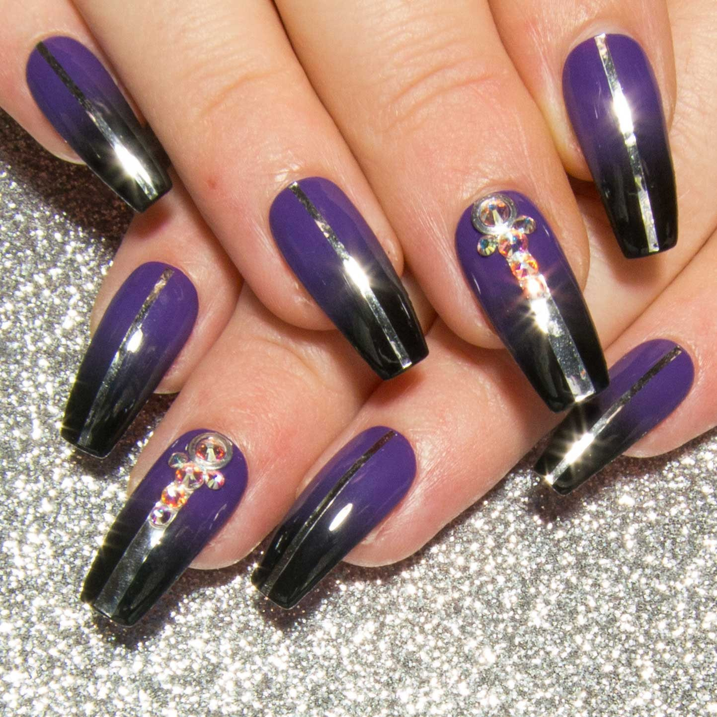 Long Coffin Nails Purple Fake Nails Press On Nails Black ...