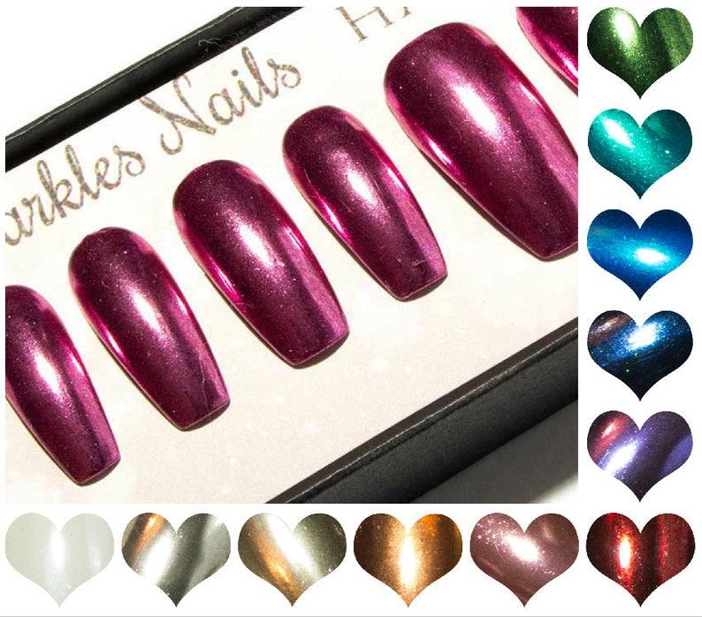 Fake Nails Chrome Long Coffin Press On Nails Ballerina   Etsy
