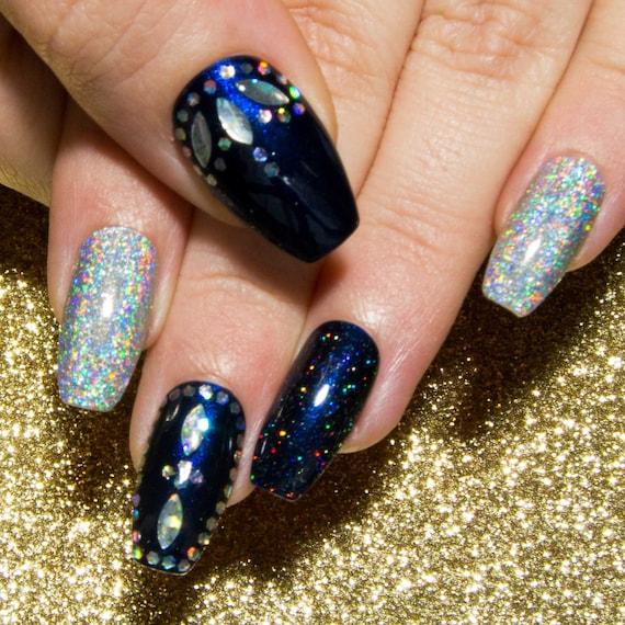 Glitter Fake Nails Holographic Nails Nail Art Acrylic Etsy