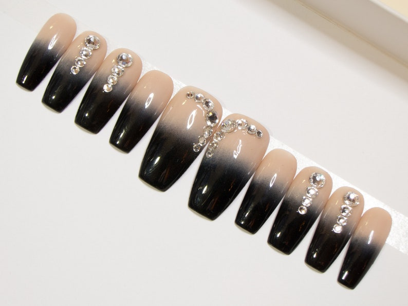 Coffin Acrylic Nails Ombre Press On Nails Black And Nude Etsy