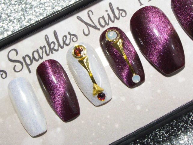 Press On Nails Coffin False Nails With Designs Purple Etsy