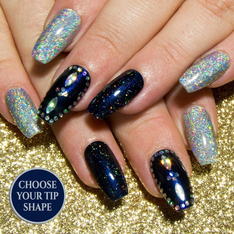 Glitter Fake Nails Holographic Nails Nail Art Acrylic | Etsy